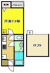 大阪府堺市堺区中安井町1丁の賃貸アパートの間取り