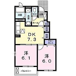 JR宇野線 早島駅 徒歩19分の賃貸アパート 1階2DKの間取り