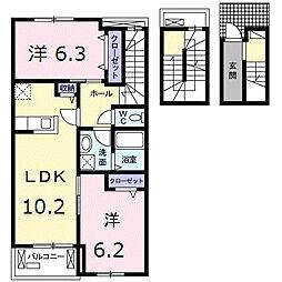 アルコバレーニIII 3階2LDKの間取り