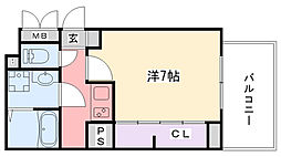 阪神本線 武庫川駅 徒歩13分の賃貸アパート 3階1Kの間取り