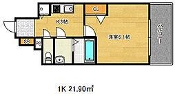 ポルト・ボヌール神戸湊川公園[4階]の間取り