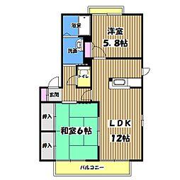 東京都福生市加美平3丁目の賃貸アパートの間取り