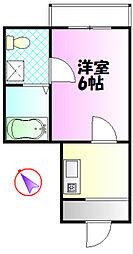 ソフィアエヌ湘南平塚 2階1Kの間取り