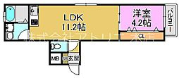 (仮称)東大阪市稲田上町1丁目計画 1階1LDKの間取り
