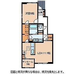 JR中央本線 下諏訪駅 バス4分 東堀下車 徒歩4分の賃貸アパート 1階1LDKの間取り