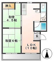 コーポマルイ[3階]の間取り