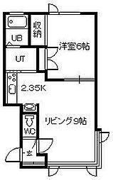 パールハイツ112B棟 2階1LDKの間取り