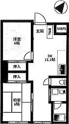 神奈川県横浜市南区中村町5丁目の賃貸マンションの間取り
