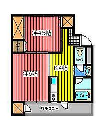 埼玉県さいたま市浦和区領家7丁目の賃貸マンションの間取り
