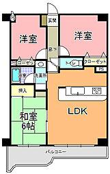 ライオンズマンション水戸[1402号室]の間取り