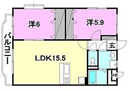 ジュネス西石井[303 号室号室]の間取り
