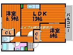 岡山県岡山市南区万倍丁目なしの賃貸アパートの間取り
