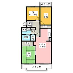 静岡県浜松市中区佐鳴台3丁目の賃貸マンションの間取り