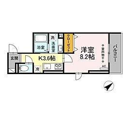 仮)D-room大塚帝京 2階1Kの間取り