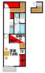 JR鹿児島本線 教育大前駅 徒歩5分の賃貸アパート 1階1Kの間取り