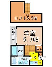 愛知県名古屋市瑞穂区北原町2丁目の賃貸アパートの間取り