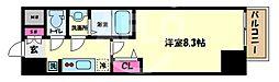 プレサンス谷町九丁目駅前 15階1Kの間取り