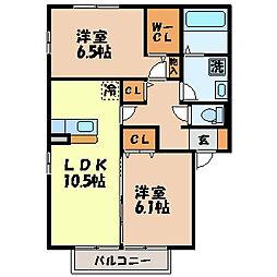 長崎県諫早市小船越町の賃貸アパートの間取り