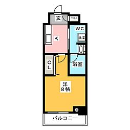 ステージグランデ上野 7階1Kの間取り