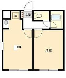 Mハウス 4階1DKの間取り