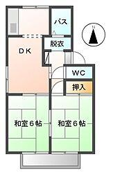 愛知県岩倉市本町上郷前の賃貸アパートの間取り