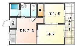 ロイヤル北斗[2階]の間取り