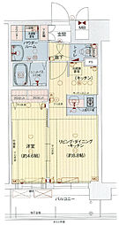 Osaka Metro中央線 九条駅 徒歩1分の賃貸マンション 12階1LDKの間取り