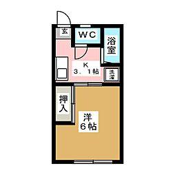第六松コーポ[2階]の間取り