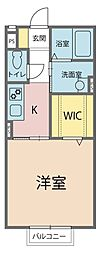 仮)遠敷新築B棟 1階1Kの間取り