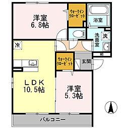 神奈川県厚木市妻田西1丁目の賃貸アパートの間取り