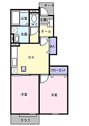 東京都八王子市兵衛2丁目の賃貸アパートの間取り