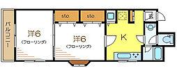 都営新宿線 篠崎駅 徒歩3分の賃貸マンション 3階2Kの間取り