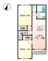 相鉄いずみ野線 いずみ野駅 徒歩14分の賃貸アパート 2階2LDKの間取り