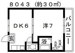 ヴィラナリー富田林4号棟[109号室号室]の間取り