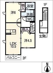 maison blanche 2階2LDKの間取り