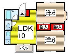 竹林コテージI[2階]の間取り