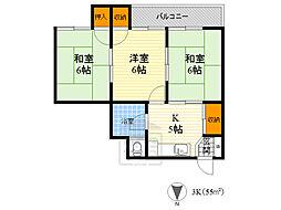 Osaka Metro谷町線 関目高殿駅 徒歩6分の賃貸マンション 3階3DKの間取り