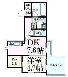 阪急神戸本線 王子公園駅 徒歩7分の賃貸マンション 3階1LDKの間取り