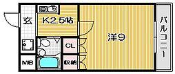 大阪府高槻市岡本町の賃貸マンションの間取り