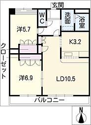 愛知県日進市藤塚2丁目の賃貸アパートの間取り