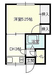 松陰アパート[201号室]の間取り
