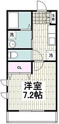 小田急江ノ島線 湘南台駅 バス7分 石川下車 徒歩4分の賃貸マンション 2階1Kの間取り