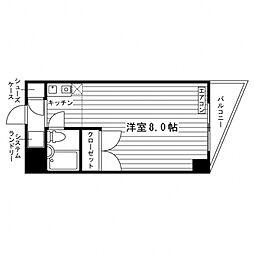 大澤ビル 5階1Kの間取り