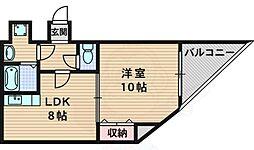 グランドソレーユ 3階1LDKの間取り