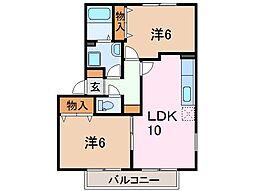 静岡県沼津市中沢田の賃貸アパートの間取り