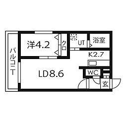 北海道札幌市豊平区美園九条7丁目の賃貸マンションの間取り