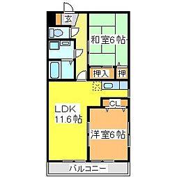 広島県東広島市西条中央8丁目の賃貸マンションの間取り