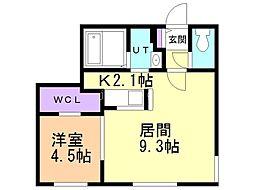 リヒトラーレ円山 1階1LDKの間取り