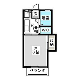 ディナ東岡山[1階]の間取り