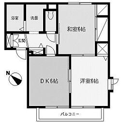 神奈川県相模原市中央区東淵野辺2丁目の賃貸アパートの間取り